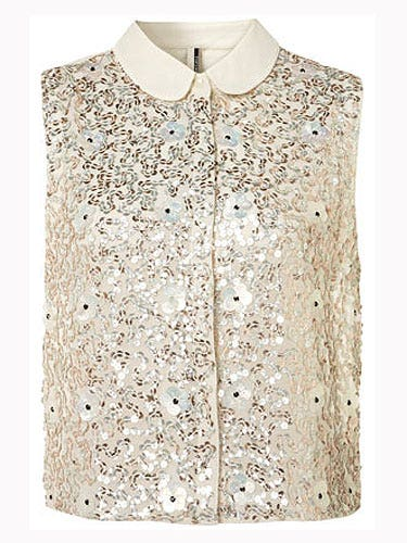 """<p>Oh, like a magpie we are drawn to anything glitzy and this gold number is no exception. Team with sequin shorts and heels.</p> <p>Sequin and flower shirt, £48, <a href=""""http://www.topshop.com/webapp/wcs/stores/servlet/ProductDisplay?beginIndex=1&viewAllFlag=&catalogId=33057&storeId=12556&productId=6114551&langId=-1&sort_field=Relevance&categoryId=208524&parent_categoryId=203984&pageSize=20&refinements=category%7E%5B330497%7C208524%5D&noOfRefinements=1"""">Topshop</a></p>"""