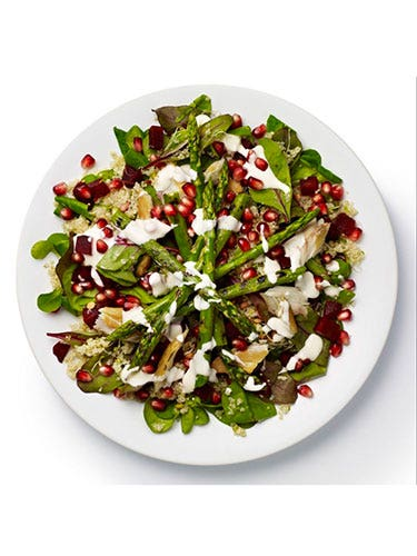 """<p><strong>BASE</strong>: Lamb's lettuce and red chard<br /><br /><strong>CARB</strong>: Quinoa<br /><br /><strong>VEG/FRUIT</strong>: Beetroot (chopped), alfalfa sprouts, asparagus<br /><br /><strong>PROTEIN</strong>: Mackerel<br /><br /><strong>DRESSING</strong>: Yoghurt and mint<br /><br /><strong>EXTRAS</strong>: Pomegranate seeds</p> <p><a href=""""http://www.cosmopolitan.co.uk/diet-fitness/diets/stop-unhealthy-office-snacking"""" target=""""_blank"""">STOP UNHEALTHY OFFICE SNACKING</a></p> <p><a href=""""http://www.cosmopolitan.co.uk/diet-fitness/diets/how-to-eat-healthy"""" target=""""_blank"""">7 STEPS TO A HEALTHIER DIET</a></p> <p><a href=""""http://www.cosmopolitan.co.uk/diet-fitness/diets/eat-healthy-on-a-budget-recipes"""" target=""""_blank"""">EAT HEALTHY ALL WEEK FOR £15</a></p>"""
