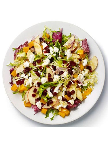 """<p><strong>BASE</strong>: Frisée and radicchio<br /><br /><strong>CARB</strong>: Granary bread<br /><br /><strong>VEG/FRUIT:</strong> Apple, red onion, butternut squash<br /><br /><strong>PROTEIN</strong>: Goat's cheese<br /><br /><strong>DRESSING:</strong> Vinaigrette<br /><br /><strong>EXTRAS:</strong> Cranberries</p> <p><a href=""""http://www.cosmopolitan.co.uk/diet-fitness/diets/stop-unhealthy-office-snacking"""" target=""""_blank"""">STOP UNHEALTHY OFFICE SNACKING</a></p> <p><a href=""""http://www.cosmopolitan.co.uk/diet-fitness/diets/how-to-eat-healthy"""" target=""""_blank"""">7 STEPS TO A HEALTHIER DIET</a></p> <p><a href=""""http://www.cosmopolitan.co.uk/diet-fitness/diets/eat-healthy-on-a-budget-recipes"""" target=""""_blank"""">EAT HEALTHY ALL WEEK FOR £15</a></p>"""
