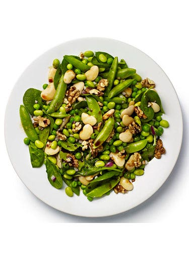 """<p><strong>BASE:</strong> Spinach<br /><br /><strong>CARB</strong>: Butter beans<br /><br /><strong>VEG/FRUIT:</strong> Mangetout, red onion, fresh peas<br /><br /><strong>PROTEIN:</strong> Edamame<br /><br /><strong>DRESSING:</strong> Soy<br /><br /><strong>EXTRAS:</strong> Toasted walnuts</p> <p><a href=""""http://www.cosmopolitan.co.uk/diet-fitness/diets/stop-unhealthy-office-snacking"""" target=""""_blank"""">STOP UNHEALTHY OFFICE SNACKING</a></p> <p><a href=""""http://www.cosmopolitan.co.uk/diet-fitness/diets/how-to-eat-healthy"""" target=""""_blank"""">7 STEPS TO A HEALTHIER DIET</a></p> <p><a href=""""http://www.cosmopolitan.co.uk/diet-fitness/diets/eat-healthy-on-a-budget-recipes"""" target=""""_blank"""">EAT HEALTHY ALL WEEK FOR £15</a></p>"""
