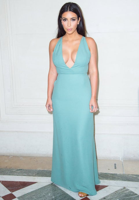 """<p>Having selected a Valentino gown for her marriage to Kanye West, we were not surprised to see the beautiful Kardashian taking her place on the front row at the brand's haute couture show.</p> <p>For the occasion, Kim looked lovely in a plunging, ice-blue gown and strappy, tan sandals.</p> <p>Later on, Kim attended the Vogue Foundation Gala wearing a design from her second-favourite label, Balmain.</p> <p><em><strong>Click through the gallery to see all the stars lining the front rows...</strong></em></p> <p><a href=""""http://www.cosmopolitan.co.uk/fashion/celebrity/celebrity-style-gallery""""><em><strong></strong></em>THIS WEEK'S BEST CELEBRITY STYLE</a></p> <p><a href=""""http://www.cosmopolitan.co.uk/fashion/news/paris-fashion-week-versace"""" target=""""_blank"""">J.LO STUNS IN SILVER AT VERSACE</a></p> <p><a href=""""http://www.cosmopolitan.co.uk/fashion/shopping/celebrity-weddings-1"""" target=""""_blank"""">AMAZING ALTERNATIVE CELEBRITY BRIDAL LOOKS</a></p>"""