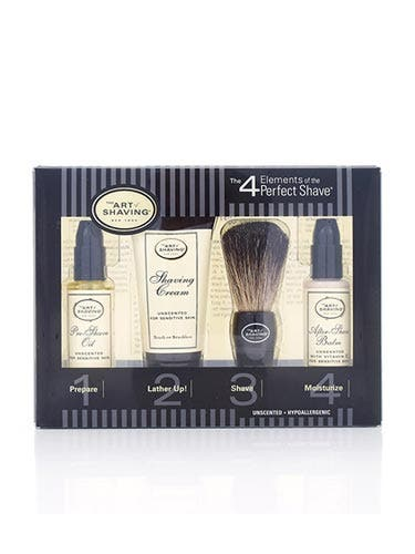"""This set is both classic (the brush) and modern (aromatherapy after-shave balm)—ideal for the dad who's not completely ready to commit to a new way of doing things. <br /><br /> The Art of Shaving Mini Starter, $25, <a href=""""http://www.3floz.com/products/Mini-Starter-4-Elements-Unscented.aspx""""target=""""_blank"""">3floz.com</a>"""