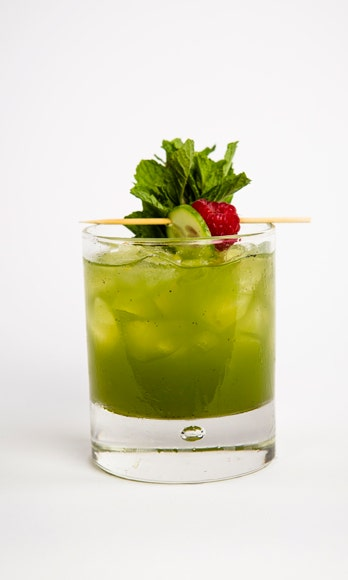 2 oz. Barrymore Pinot Grigio<br /> 4 cucumber chunks<br /> 5 mint leaves<br /> ¾ oz. lime juice<br /> ¾ oz. simple syrup<br /> 1 oz. soda water<br /> Garnish: 3 mint sprigs and a cucumber slice</i><br /><br />  To make simple syrup, mix equal parts hot water and sugar until sugar is dissolved. In a cocktail shaker, muddle cucumber and mint leaves. Fill shaker with ice and add lime juice, simple syrup, and wine. Shake vigorously. Strain into a glass filled with ice and garnish with three mint sprigs and a cucumber slice. <br /><br /> <i>Source: Barrymore Wines</i>