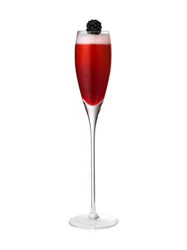 <i>½ oz. blackberry syrup<br /> ½ oz. lemon juice<br /> Dash of Crème De Peche<br /> 3 oz. Chandon Blanc de Noirs<br /> Garnish: blackberry<br /><br /></i>  Pour all ingredients into a shaker filled with ice. Shake ingredients with ice and strain into a flute. Top with Chandon Blanc de Noirs. Garnish with a blackberry.