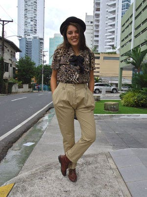 "<p>The mix of animal print blouses, high-waist trousers and oxford booties gives this retro look a mod twist. Llana. </p> <p>Debbie K, blogger and photographer, <a href=""http://panamastreetstyle.com/"" target=""_blank"">Panama Street Style</a></p>"