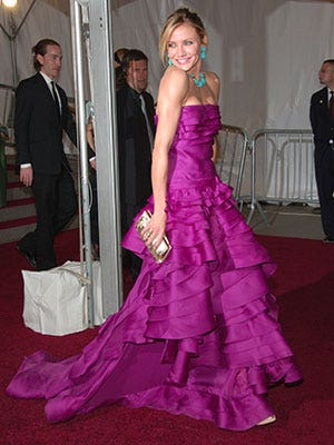 "Wow. Talk about eye-popping color—something our very own fashion blogger Flor is always for! She sported this number at the ""Poiret: King of Fashion"" Costume Institute Gala at The Metropolitan Museum of Art in 2007. We love the fuchsia/turquoise mix."