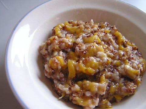 """<div><em>2/3 c. quinoa, cooked in almond milk </em></div> <div><em>1 T. chia seeds </em></div> <div><em>1/2 c. <a href=""""http://www.cosmopolitan.com/food/cocktails/cosmo_cocktails_spicy_peach?click=main_sr"""" target=""""_blank"""">peaches</a> or berries  </em></div> <div><em>1/4 t. cinnamon </em></div> <div><em>1/4 t. nutmeg (optional)</em></div> <div><em>1 t. honey </em></div> <div> </div> <div>In a bowl, mix together quinoa, chia seeds, and fruit. Sprinkle on cinnamon and nutmeg, if using. </div> <div> </div> <div>285 calories</div>"""