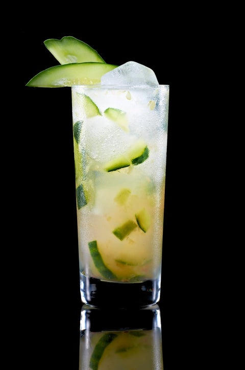 <p>1 1⁄2 parts Pucker® Citrus Squeeze™ Vodka.<br />3 Slices of Cucumber<br />Juice of Half a Lime<br />2 parts Ginger Ale</p> <p>Add cucumber and lime juice to a cocktail shaker and muddle. Add a scoop of ice and vodka; shake vigorously. Add ginger ale and pour into a Collins glass.</p>