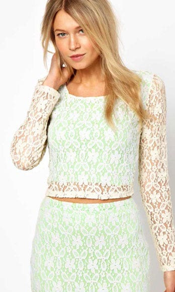 Clothing, Green, Sleeve, Human body, Shoulder, Textile, Joint, White, Style, Pattern,
