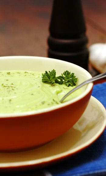 """<p><strong>What You Need</strong>: An onion, yogurt, and peas</p> <p>This one is equally delicious served <a href=""""http://www.cosmopolitan.com/sex-love/tips-moves/Even-Hotter-Action?click=main_sr"""" target=""""_blank"""">hot</a> or chilled. Sauté half a chopped onion and 1/2 teaspoon dried tarragon (you can also use basil, parsley, or pretty much any dried green herb in your spice rack) in 1 tablespoon olive oil over medium heat. Once the onion is translucent, pour in two cans of chicken or vegetable broth and bring to a boil. (Don't have broth? Water works too, but is less flavorful.) Add a bag of frozen peas (reserving a small handful) and simmer for five minutes. Transfer the mixture to a blender and whiz until smooth. Pour the soup back in the pot, stir in 1/2 cup yogurt, toss in the handful of reserved peas, and season with salt and pepper.</p>"""