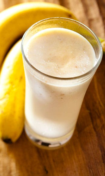 """<p><strong>What You Need</strong>: A banana, milk, and peanut butter</p> <p>Put one banana, a scoop of peanut butter, and one cup of almond milk (or regular milk) in the blender. Add a dash of honey and five <a href=""""http://www.cosmopolitan.com/sex-love/tips-moves/ice-cube-sex?click=main_sr"""" target=""""_blank"""">ice cubes</a> and blend, adding more milk as necessary to get the smoothie to your desired consistency.</p>"""