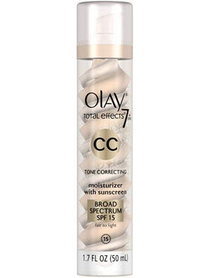 "<p>Not only does this cream offer luminous coverage, it fights aging with serious, skincare-level UV protection.</p> <p>Olay CC Cream Total Effects Tone Correcting Moisturizer in Fair/Light, $24, <a href=""http://www.pgestore.com/women/facial-skin-care/olay-total-effects/olay-total-effects-7-in-1-tone-correcting-uv-moisturizer-fair-to-light-1.7-oz/075609190339,default,pd.html?cm_mmc=CSE-_-GooglePLA-_-Olay-_-Olay%20CC%20Cream,%20Total%20Effects%20Tone%20Correcting%20Moisturizer%20with%20Sunscreen,%20Fair%20to%20Light%2017%20fl%20oz&ci_src=17588969&ci_sku=075609190339"" target=""_blank"">pgestore.com</a></p>"
