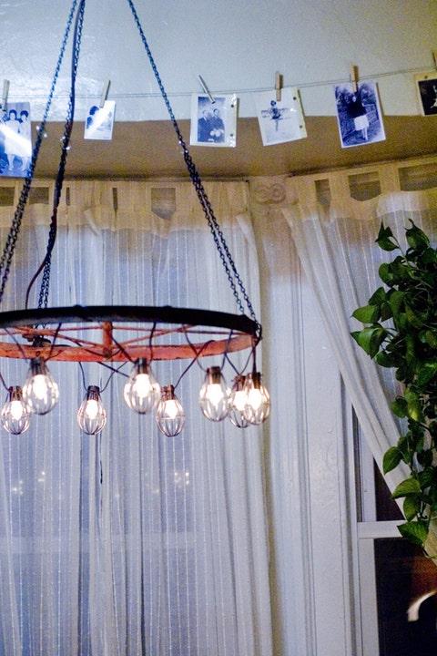 Interior design, Electricity, Window treatment, Interior design, Window covering, Electrical supply, Light fixture, Iron, Peach, Curtain,