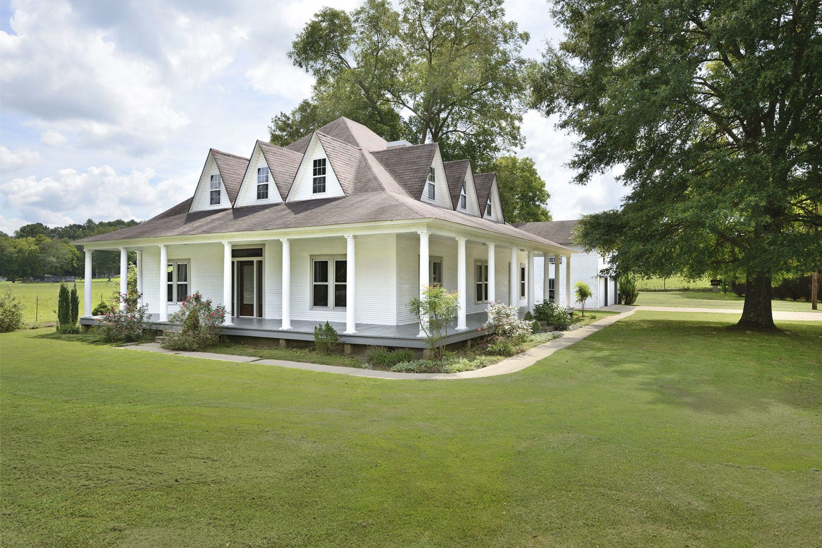 Property, House, Land lot, Real estate, Home, Building, Roof, Residential area, Lawn, Garden,