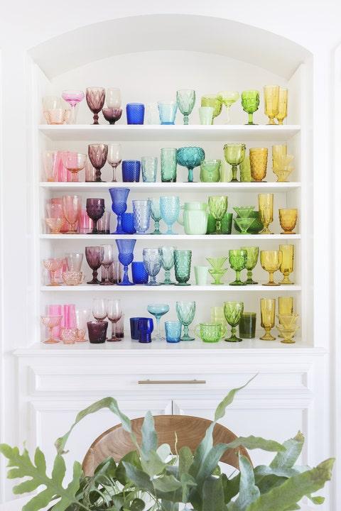 Shelving, Dishware, Aqua, Turquoise, Collection, Teal, Porcelain, Shelf, Natural material, Herb,