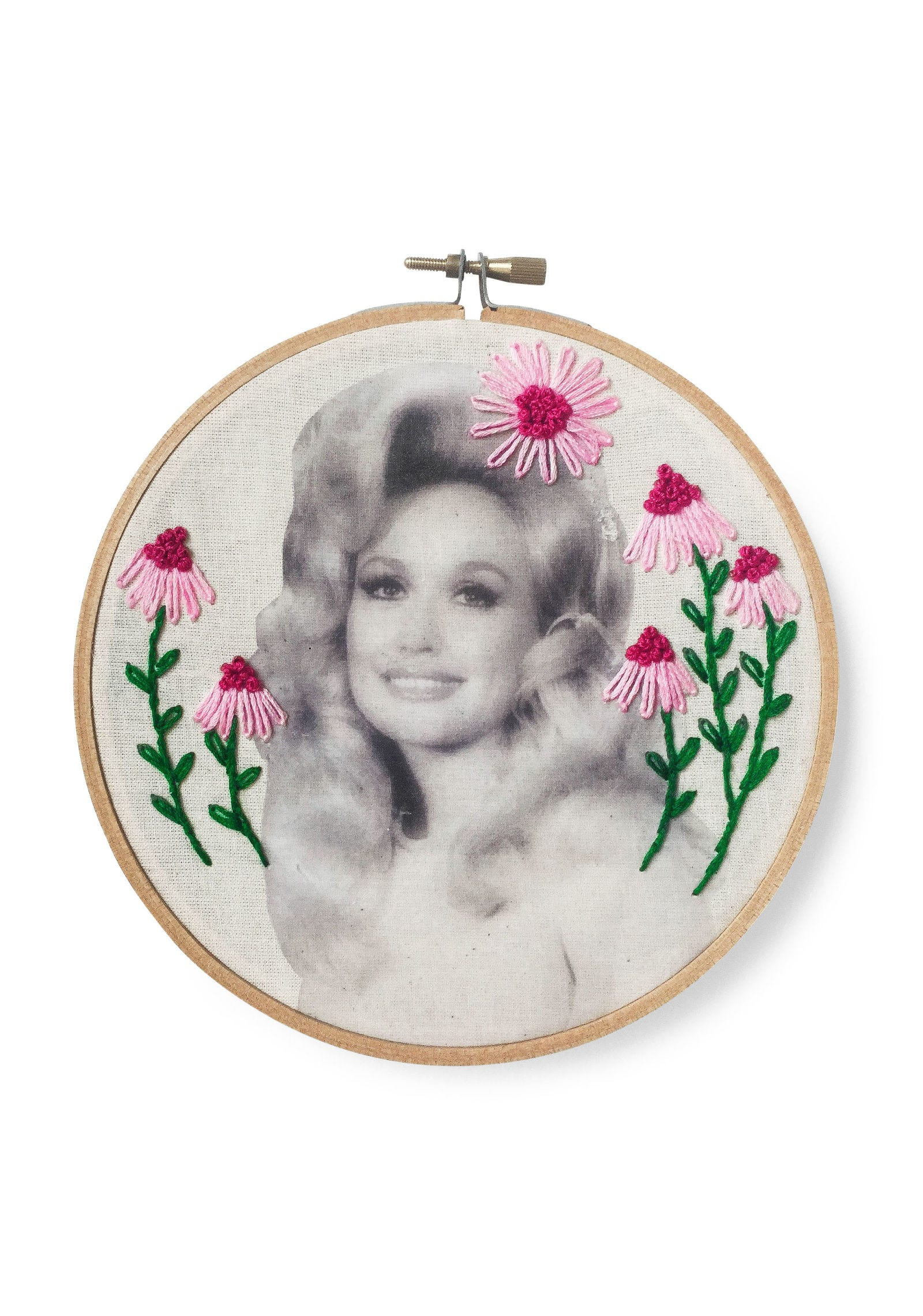 Cheek, Embroidery, Pink, Magenta, Art, Creative arts, Needlework, Circle, Craft, Cross-stitch,