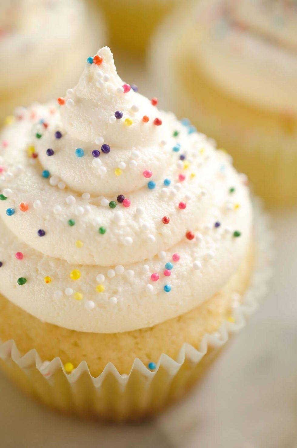 Food, Buttercream, Cupcake, Icing, Sprinkles, Dessert, Cuisine, Dish, Meringue, Cream,