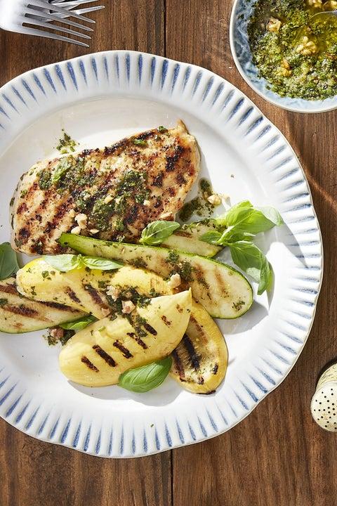 grilled pesto chicken with summer squash