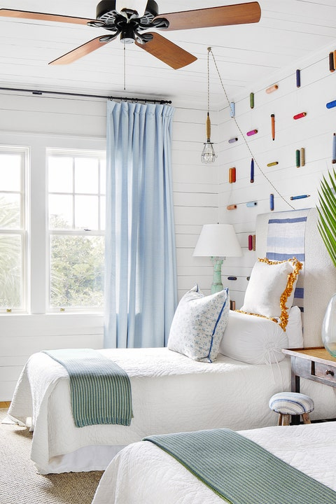 Bedroom, Room, Furniture, White, Bed, Interior design, Ceiling fan, Wall, Curtain, Ceiling,