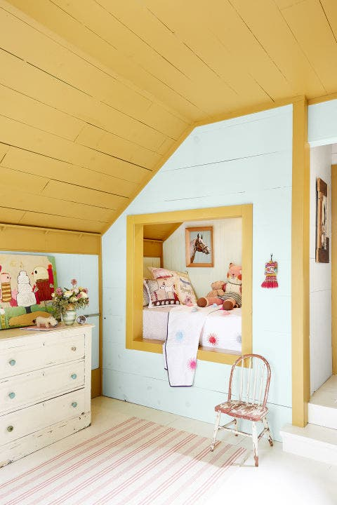 Ceiling, Room, Interior design, Furniture, Property, Building, Yellow, House, Pink, Wall,