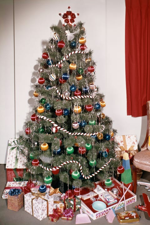vintage christmas tree with tinsel