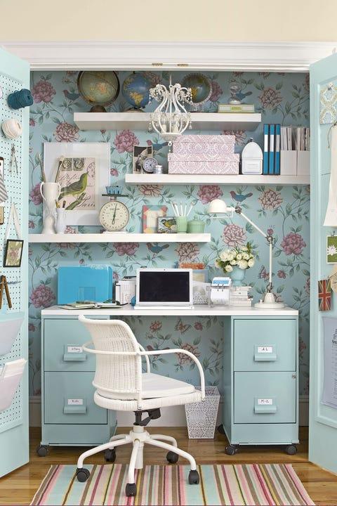 Room, Furniture, Hutch, Wall, Turquoise, Wallpaper, Desk, Interior design, Computer desk, Shelf,