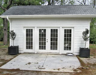 white garden shed