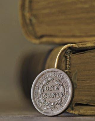 close up of antique one cent piece