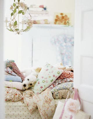 dog on bed of florals