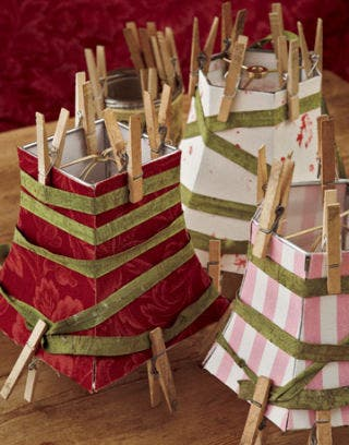 lampshades adorned with clothespins