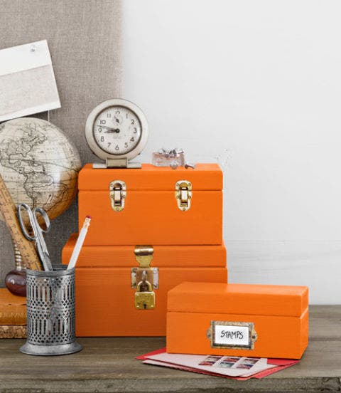 wooden boxes with paper hardware