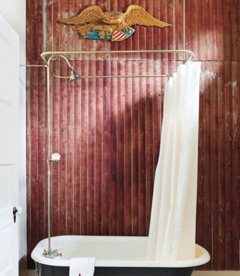 Shower curtain, Room, Bathroom, Plumbing fixture, Curtain, Tile, Wall, Shower, Interior design, Floor,