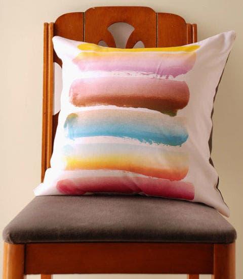 Textile, Cushion, Pillow, Throw pillow, Orange, Pink, Linens, Home accessories, Teal, Peach,