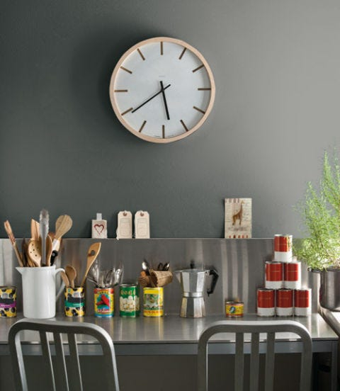 Interior design, Wall clock, Clock, Home accessories, Grey, Quartz clock, Still life photography, Bottle, Circle, Food storage containers,