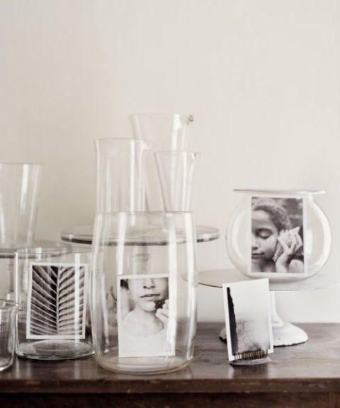 glass vases black and white photos