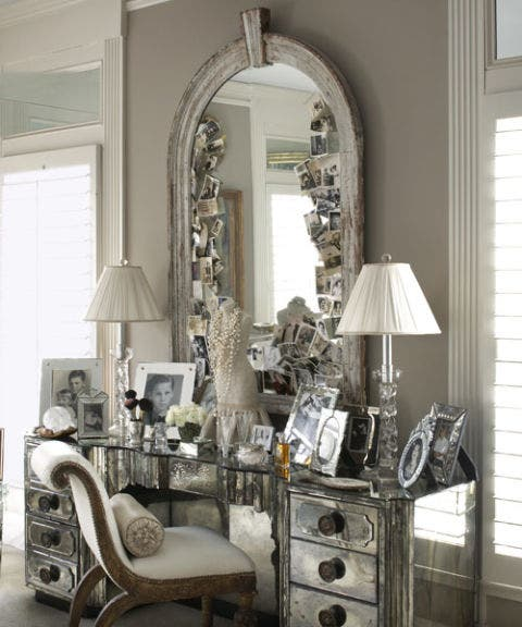 mirror with vintage photos desk antique desk and chair