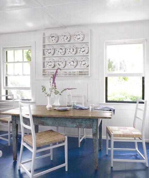 blue floored kitchen