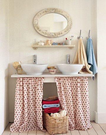 bathroom sink with fabric skirt