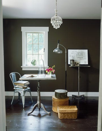 room with brown walls