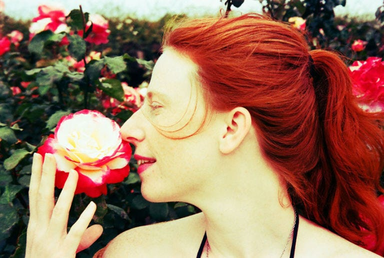 Lip, Petal, Hairstyle, Red, Flower, Beauty, Red hair, Rose family, Rose order, Flowering plant,