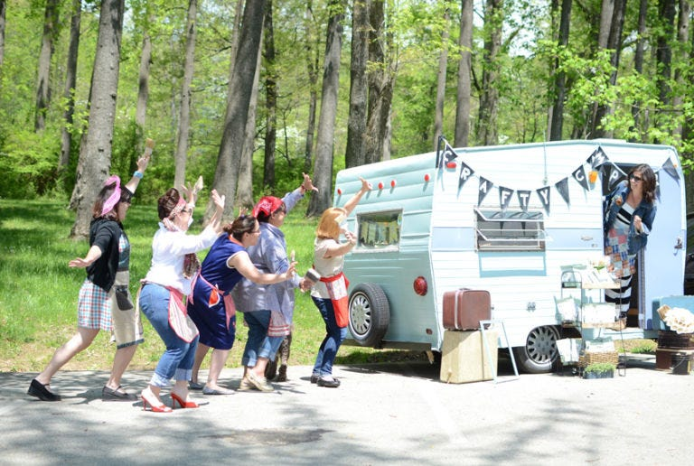 Tree, Forest, Youth, Travel trailer, RV, Woodland, Pedestrian, Food truck, Caravan, Walking shoe,