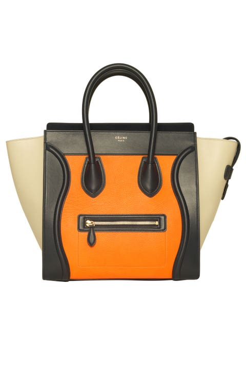 """Céline Mini Luggage Tote in Mulitcolor Elephant Calfskin Bright Orange, $3,450; &nbsp;at select Saks Fifth Avenue locations (<a href=""""http://www.saksfifthavenue.com/Entry.jsp"""">saksfifthavenue.com</a>) <strong> </strong>  <strong>Why you need it:</strong>&nbsp;Céline has been the """"It-bag"""" of choice since 2009. New year, new Céline,&nbsp;right?"""