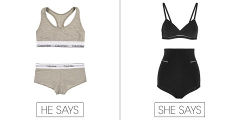 """<strong>He says:</strong> My wife thinks I'm crazy but I think those classic '90s Calvin Klein bra and underwear are the sexiest kind of underwear. I'm happy those are back for women.  Calvin Klein ModernCotton Bra, $24; <a href=""""https://trueandco.com/bras/calvin-klein/modern-cotton/2582?gclid=CjwKEAiAodOlBRDCjr-UlJDjtVUSJABR7fxykVOqD_myQbNewxhv0bupLWPy0qFkma83cMaj3H-QfhoC1Yjw_wcB"""">trueandco.com</a>  Calvin Klein ModernCotton Panty, $22; <a href=""""https://trueandco.com/panties/calvin-klein/modern-cotton/2584"""">trueandco.com</a>  <strong>She says: </strong>The bedroom is a little like the beach to me. If you want me to feel sexy, better not make it too small. Also, Eres is super expensive so that is a great way to feel sexy.&nbsp;"""