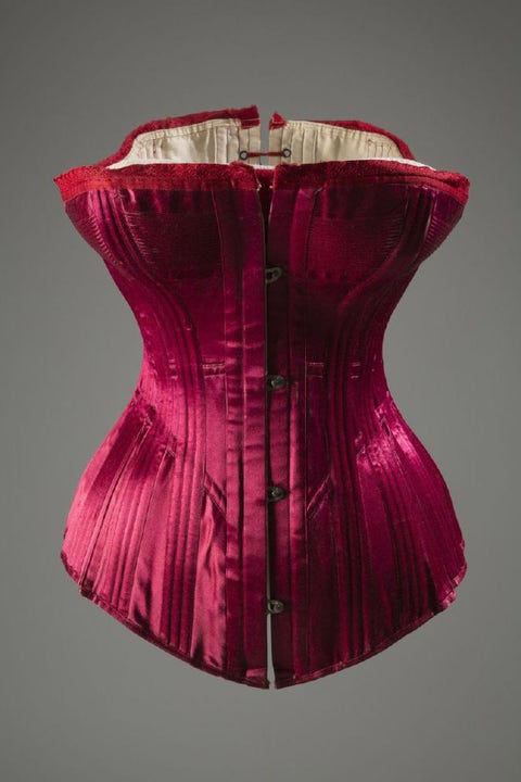 The S-curve corset, made popular in the early twentieth century, pushed the breasts forward and arched the chest back to accentuate the hips. These Victorian corsets were extremely constricting but constructed in beautiful, intricate designs—women with the financial means were encouraged to shop for these undergarments with as much care and thought as they did with their outerwear.  <em>Warner Bros. Corset/Silk, Satin, Coraline, ca.1889, USA</em>  <!--EndFragment-->   <!--EndFragment-->