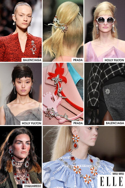 Bling is back! After seasons of oversized jewelry with minimal design, we've made a return to very feminine, sparkly jewelry, like the brooches at both Prada and Balenciaga and the big earrings that were pretty much everywhere.