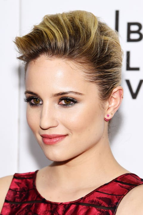 <p>Agron's blond highlights are emphasized in her textured pompadour hairstyle.</p>