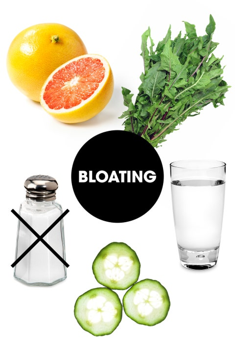 """Retention is usually exacerbated by dehydration, since your body then tries to hold on to what little water content it has. The best way to combat this in addition to chugging as much H2O as possible is to fill up on fruits and veggies with a high water and fiber content. <a target=""""_blank"""" href=""""http://foodcoachnyc.com/"""">Nutritionist Dana James, MS, CNS, CDN</a> recommends cucumbers, """"they're loaded with potassium and this acts as a natural diuretic to decrease bloating and swelling,"""" she says. She also recommends citrus fruits like grapefruit and lemon. <a target=""""_blank"""" href=""""http://nutritiouslife.com/"""">Keri Glassman, MS, RD, CDN</a> also touts dandelion greens, which also act as a natural diuretic. Finally, keep salt intake to a minimum."""