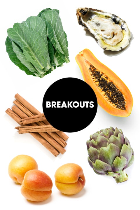 """""""Dark green leafy veggies are a good source of vitamin A, which may help maintain a good complexion, and adequate hydration is critical for good skin any time of month,"""" says Rebecca Blake, MS, RD, CDN, and Clinical Director of Nutrition at Mount Sinai in NYC. James suggests focusing on orange fruits in particular like papaya, apricot, and peaches. """"The yellow pigments in these summer fruits help to increase skin cell turnover to decrease breakouts caused by excess oiliness from hormonal changes,"""" she says. Sprinkle that fruit with some cinnamon, which is a natural anti-inflammatory and can help stabilize blood sugar levels that might trigger breakouts. She also recommends artichokes, which can help keep your digestive flora in check. """"A healthy microbiome means radiant, clean skin!""""   Finally, they're best known as a notorious aphrodisiac, but Glassman notes that oysters can also put our skin in a good mood. """"The high zinc content decreases oxidative damage and may keep your skin clear of irritants,"""" she says."""