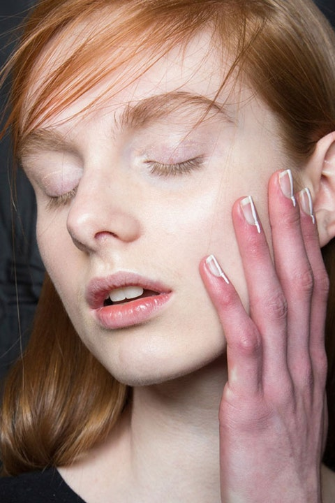 """<p>""""Sometimes the simplest detail is the most effective,"""" says nail artist Keri Blair. She went minimal in her design for Delpozo, painting a thin white line that extended past the cuticle. </p>"""