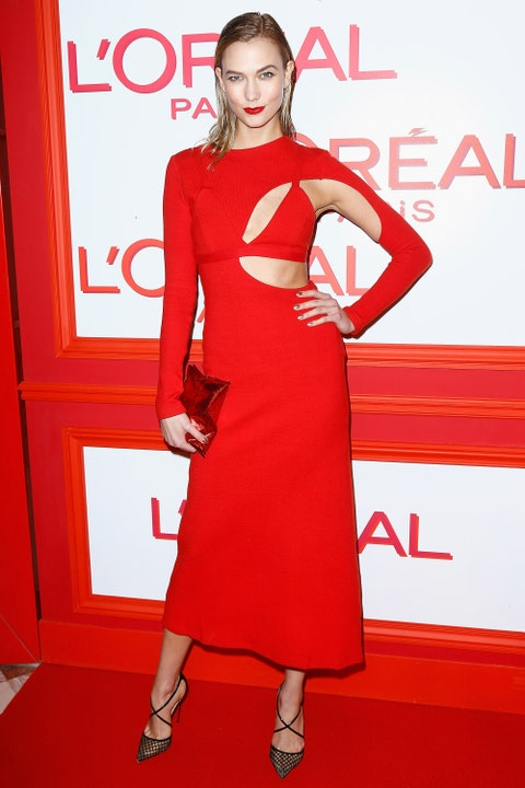<p>Who: Karlie Kloss</p><p>When: March 08, 2016</p><p>Why: Karlie Kloss <em>always </em>looks good. Chalk it up to her height, model-stunning looks, her approachable manner or maybe just straight up black magic. Either way, this dress from Rosie Assoulin's spring collection is leaps and bounds above her (already great) style. She accessorized the cutout number with an Anya Hindmarch potato crisp clutch and Christian Louboutin heels. </p>